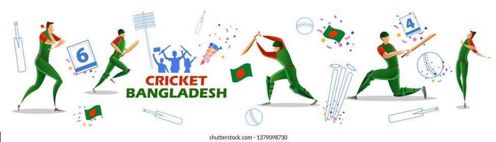 illustration of Player batsman and bowler of Team Bangladesh playing cricket championship sports