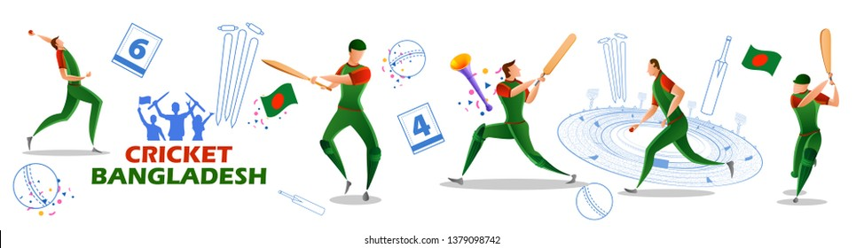 illustration of Player batsman and bowler of Team Bangladesh playing cricket championship sports
