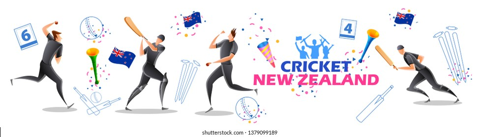 illustration of Player batsman and bowler of Team New Zealand playing cricket championship sports