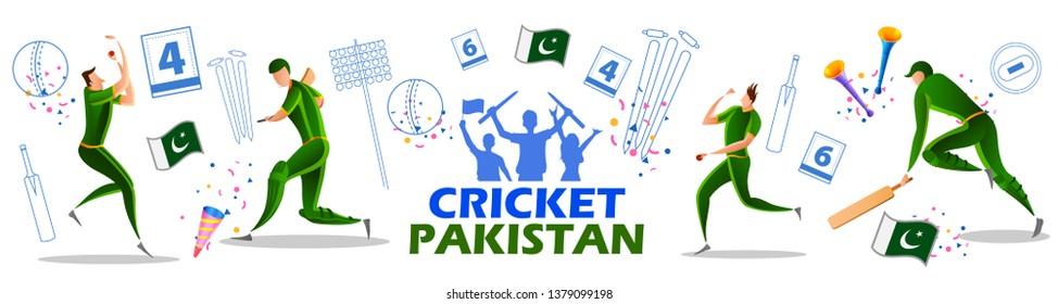illustration of Player batsman and bowler of Team Pakistan playing cricket championship sports