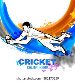 illustration of player fielding in cricket championship