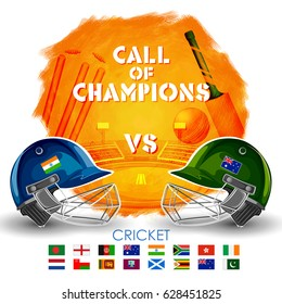 illustration of Player helmet on cricket background and VS versus text