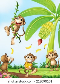Illustration of the playful monkeys near the banana plant