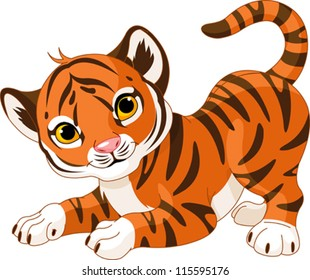 Illustration of playful tiger cub