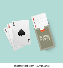 Illustration of playing cards for Casino concept.