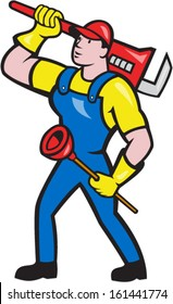 Illustration of a plumber holding carrying monkey wrench on shoulder and holding plunger done in cartoon style on isolated background.