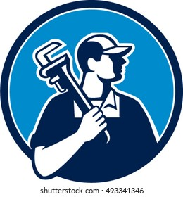 Illustration of a plumber holding pipe wrench on shoulder looking to the side viewed from front set inside circle on isolated background done in cartoon style.
