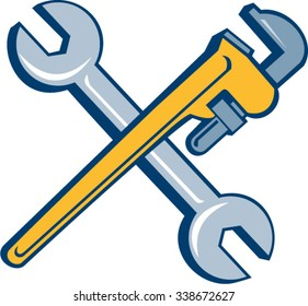 Illustration of a plumber's monkey wrench and mechanic's spanner crossed set inside on isolated white background done in cartoon style.