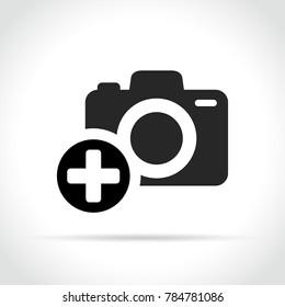 Illustration of plus sign on camera icon