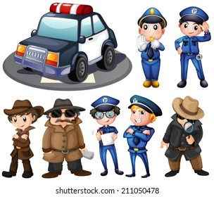 Illustration of police and detectives