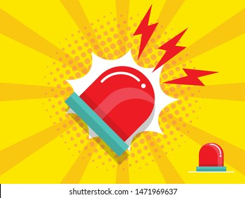 illustration of police and emergency siren alert flashing light vector flat design