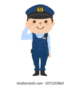 Illustration of a police officer of a man working with a smile.