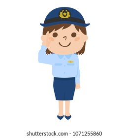 Illustration of a police officer of a woman who is working with a smile.