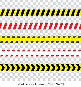 illustration of police security tapes, yellow with black and red, vector illustration