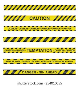 An illustration of police tape with a spiritual theme. Vector EPS 10.