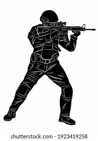 illustration of a policeman or soldier with a gun, black and white drawing, white background