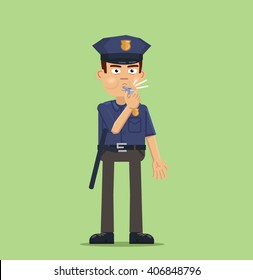 Illustration of a policeman with whistle. Police officer whistling isolated on abstract background. Flat style vector illustration