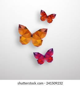 Illustration of  polygonal butterfly with isolated on white background