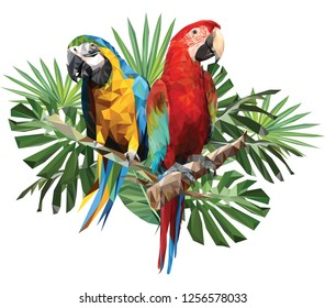 Illustration polygonal drawing of green wing and blue and gold macaw birds with tropical leaf.