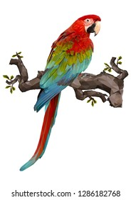Illustration polygonal drawing of green wing macaw  bird hold on the branch.