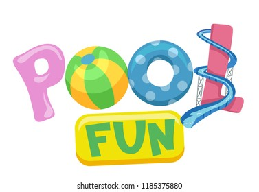 Illustration of Pool Fun Lettering with Ball, Flotation Device and Slide
