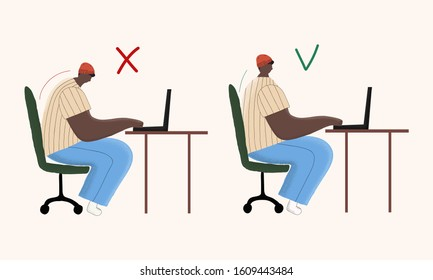 Illustration of poor and good postures during everyday computer work. Afro-american man is incorrect and correct sitting at the working place. You can use in card, banner, brochur and print. Vector