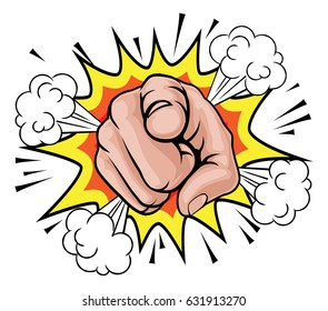 An illustration of a pop art comic book pointing cartoon hand with explosion