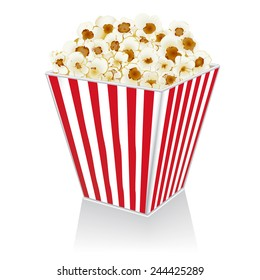 illustration of popcorn in a box on a white background