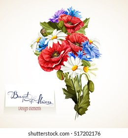 Illustration of Poppy, chamomile and cornflowers. Bouquet of flowers. Floral design element, vector - stock.