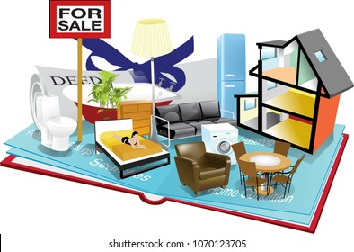 illustration of a 'pop-up' book displaying elements of purchasing a house. Including a deed, for sale sign, furniture and a house