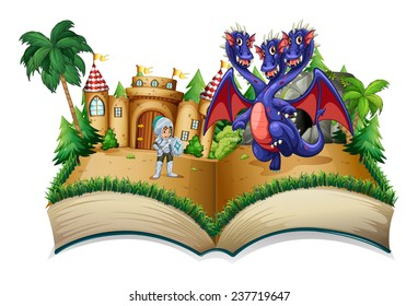 Illustration of a pop-up book with a knight and a dragon