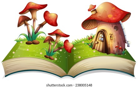 Illustration of a popup book with mushroom house