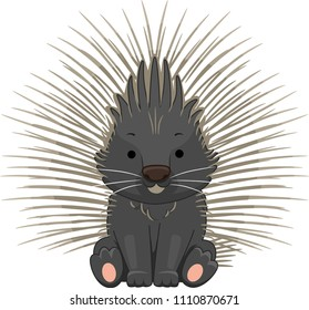 Illustration of a Porcupine with Spines Sticking Out Sitting Down