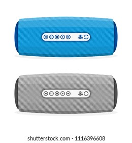 Illustration of portable wireless speaker isolated on white background. Portable and stereo sound. Connect with Smartphone to Play the Music. Vector EPS 10.