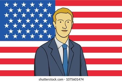 An illustration of a portrait of Mark Zuckerberg on national flag background