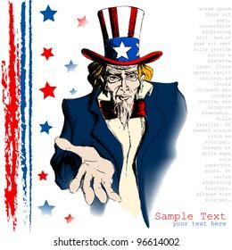 illustration of portrait of Uncle Sam on american flag background