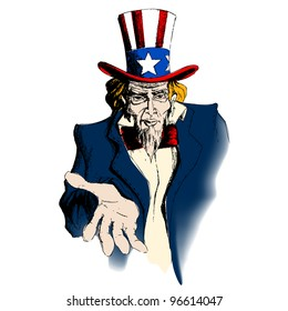illustration of portrait of Uncle Sam on white background