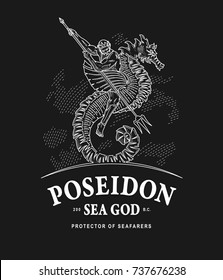 Illustration of Poseidon god of the seas riding a seahorse