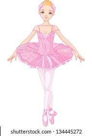 Illustration of posing beautiful pink ballerina