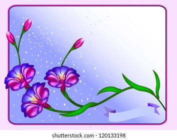illustration postcard background with flowers and ribbon