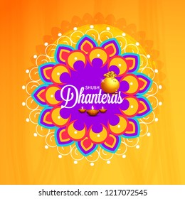 Illustration Poster Or Banner For Dhanteras Diwali Festival.