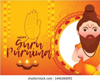 Illustration of Poster for the Day of Honoring Celebration Guru Purnima.