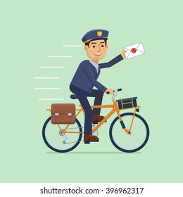 Illustration of a postman riding bicycle and delivering mail. Cheerful carrier with letter. Mail delivery service. Simple style vector illustration