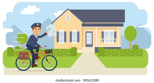 Illustration of a postman riding bike and delivering newspapers. Cheerful carrier with newspaper. Mail delivery service. Flat style vector illustration
