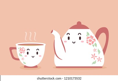 Illustration of a Pot and Cup of Tea Mascots - Shutterstock ID 1210173532
