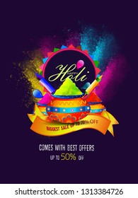 Illustration of pot full of colors on splash background for Happy Holi celebration greeting card design.kids and festival elements with Holi text. - Vector
