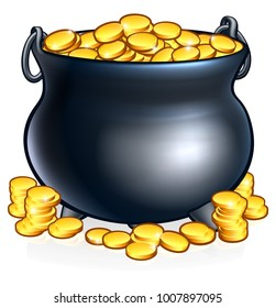 An illustration of a pot of gold coins like you might find at the end of a rainbow