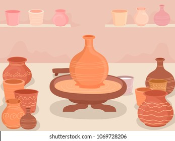 Illustration of a Potters Wheel and Different Pots Made Inside a Pottery Making Workshop