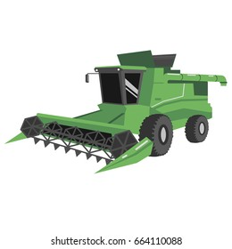 Illustration of a powerful green combine harvester in a vector