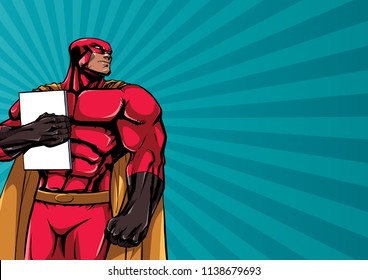 Illustration of powerful superhero holding book, magazine or comics. You can use the copy space on the cover as you wish.